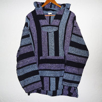 90s Purple and Blue Drug Rug Baja Hoodie XL