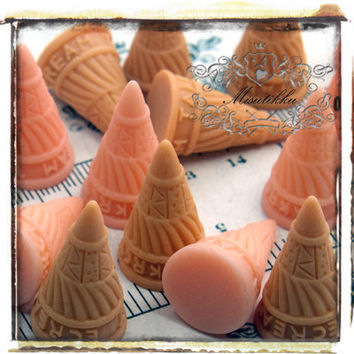 6 PCS X 30mm (Pick Your Color) 3D Ice Cream Cone Cabochon Baked Waffle Cabochon Flatback -Deco Mini Food Miniature Craft Supplies (IC10)