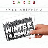 Game of Thrones Christmas Card, Winter is Coming Card, Game of Thrones Holiday Card, Winter Cards, Black, White, Winterfell, Westeros, Stark