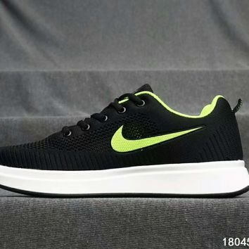 LV Shoes Nike Air Sports Shoes Louis Vuitton Sports Shoes Jointly breathable running shoes Stripe Black/Green