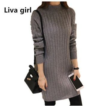 women oversized pullover sweaters jumper high neck knitted sweater dress plus size fall womens clothing winter pullover zt94.