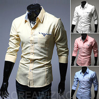 Modern Men Slim Fit Fashion Dress Shirt