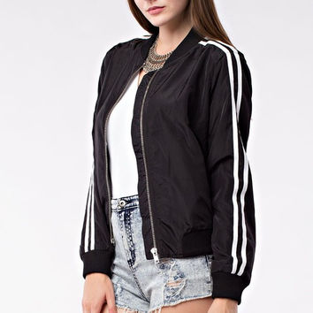 Too Cool for School Bomber Jacket - Black