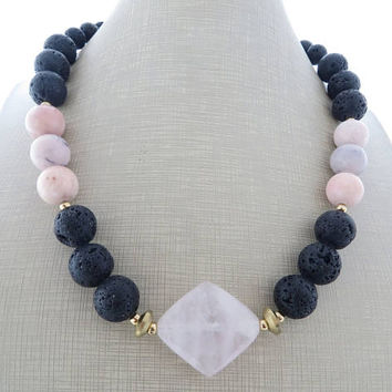 Pink opal necklace, black lava rock necklace, chunky choker, rose quartz necklace, beaded necklace, gemstone jewelry, contemporary jewelry