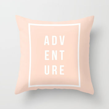 ADVENTURE in Peach Throw Pillow by Inspire Your Art