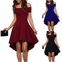 Off The Shoulder High Low Pleat Party Dress -3 Color Options-