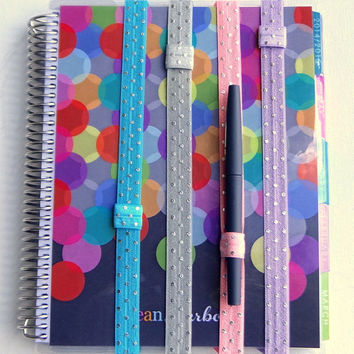 Planner Band Erin Condren Life Planner Accessory Plum Paper Pen Holder Wedding Planner Bible Hymnal Silver Foil Polka Dots Turquoise Pink