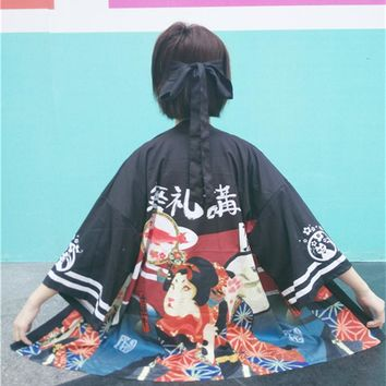 harajuku kawaii Vintage blouses 2017 fashion japanese novelty loose thin chiffon long-sleeved sun clothing kimono thin blouse