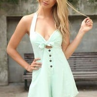 Mint Halter Playsuit with Button & Tie Peep-Hole Front Detai