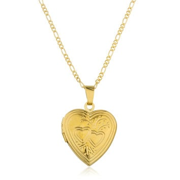 Two Year Warranty Gold Overlay Heart Locket Pendant with an 18 Inch Link Necklace