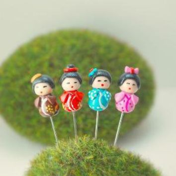 Kokeshi Dolls Pin Topper in Polymer Clay by DIVINEsweetness