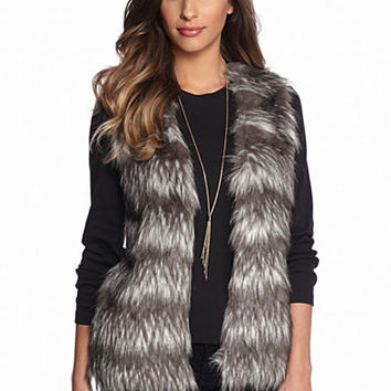 New Directions® Stripe Faux Fur Vest - Belk.com