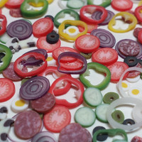 Polymer Clay Vegetable Pizza Salad Cane Slices Miniature Food