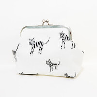 Metal Frame Clutch, Coin Purse, Clutch, Metal Snap Pouch, Cute Coin Purse, Cat Purse, Cotton Steel Black and White, Tiger Stripes Cat