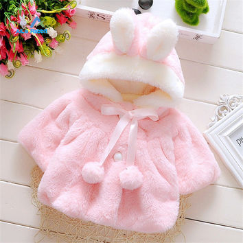 2016 baby girl jackets girls outerwear coats coats winter kids jacket Velour fabric garment lovely Bow coat baby girl clothes