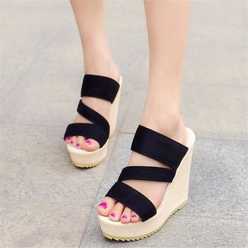 Suede Heel Sandals Slippers Women Wedges Sandals Open Toe High Heels