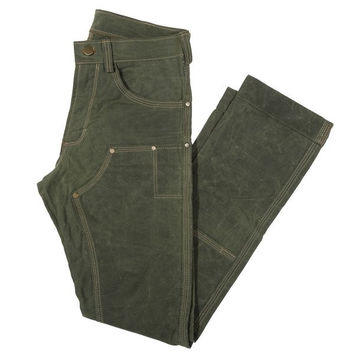 GN.01 WAXED CANVAS FITTED WORK PANT - OLIVE