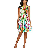 Eliza J Floral-Print Fit-and-Flare Dress - Floral Print