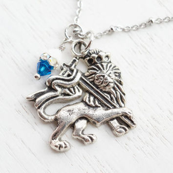 Alpha Delta Pi,Lion King Charm Necklace,Azure blue Lion Charm Pendant,Sorority Lion Jewelry,Sorority Symbol,Gift for sisters,Friendship BFF