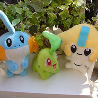NEW 3pcs NINTENDO POKEMON Mudkip Chikorita Jirachi Plush dolls FREE SHIPPING!