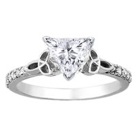 Engagement Ring - Trillion Diamond Cut Celtic Knot Engagement Ring with Diamond Accents in 14K White Gold - ES643TR