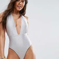 And Co Satin Rib Swimsuit at asos.com