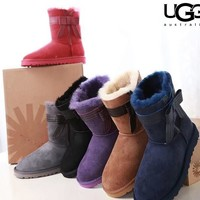 UGG stylish casual lady's wool boots are hot sellers with side bow UGG boots