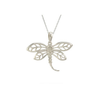 "Sterling Silver Diamond Dragonfly Necklace, 18"" (.02 cttw, I-J, I2-I3)"
