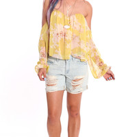 BOHO OFF THE SHOULDER BUSTIER BLOUSE - YELLOW