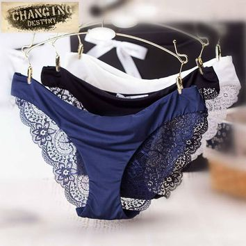 Women Lace Sexy Panties Ultra-Thin Transparent Flower Embroidered Patterned Plus Size Underwear Seamless Briefs Panty S-XL