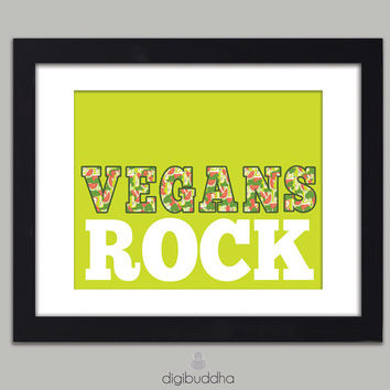 Vegans Rock Vegetable Fruit Food Poster Typography Word Art Kitchen Wall Art 8x10 Vegan Vegetarian Modern Poster Wall Decor Premium Print