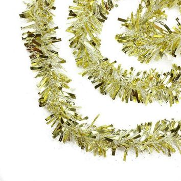 ONETOW 50' Festive Gold and White Thick Cut Christmas Tinsel Garland - Unlit - 6 Ply