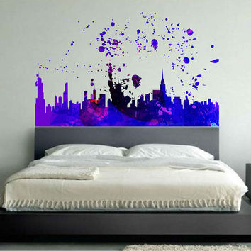 kcik1747 Full Color Wall decal poster space Watercolor paint splashes New york city Living room bedroom