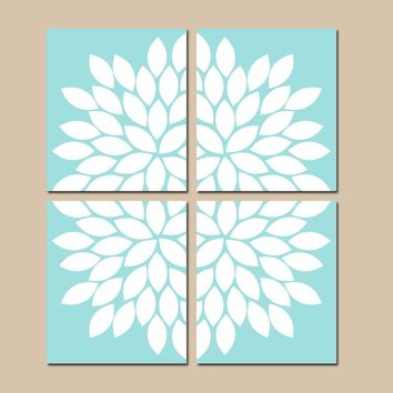 AQUA Wall Art, CANVAS or Prints, Aqua Bedroom Wall Decor, Aqua Bathroom Decor, Flower Burst Wall Art, Home Decor, Dahlia Petals Set of 4