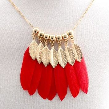 Beads Faux Feather Leaf Tassel Sweater Chain - Red