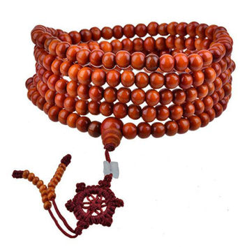 Red Wood Beads Bracelet Men Women 5mm 6mm Buddhism 216Pcs Wooden Rosary Bodhi Sandalwood Prayer Beads Tibetan Mala Bead Bracelet