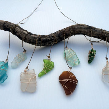 Sea Glass Window Art Beach Glass Sun Catcher Nautical Decor Upcycled Glass Wall Hanging Driftwood Art Eco Friendly Lake Erie Aqua Seaglass