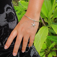 Silver Starfish Bangle, Hawaii Beach Jewelry, Beach Wedding Bracelet, Hammered Thick 12 Gauge, Charm Bracelet