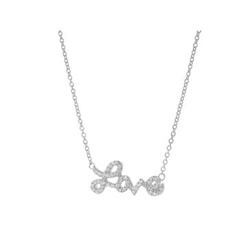 Cursive Love Necklace Platinum Plated Sterling Silver, Length:  16-18 Inches by Fronay Co