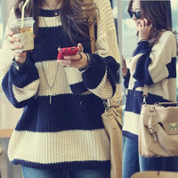 Classical Women Stripe Pullover Sweater Jumpers Knitting Knit Top