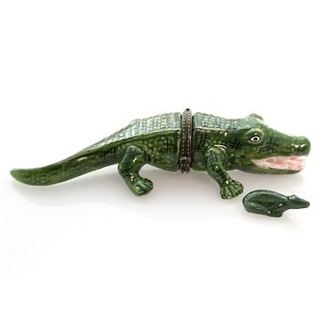 Hinged Trinket Box CROCODILE Porcelain Reptile Water Eb1089