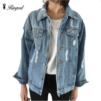 Women Basic Coats Autumn And Winter Women Denim Jacket 2016 Vintage Long Sleeve Loose Female Jeans Coat Casual Girls Outwear