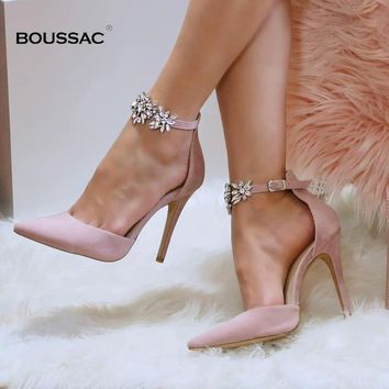 Elegant Rhinestone Women Pumps High Heels Silk Pointed Toe Buckle Strap Wedding Pumps Crystal Party Shoes Women SWB0025