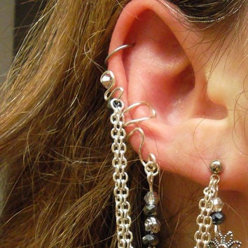 Ear Cuff With Chain Earring Sterling Silver