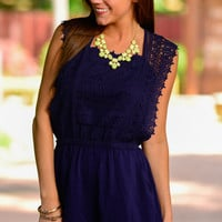 Romantic Rendezvous Romper, Navy