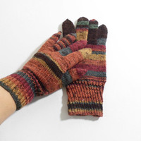Knitted Men's Gloves - Autumn Colors, Large