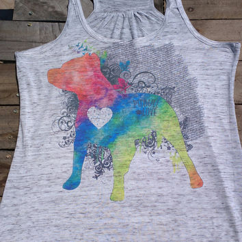 Pitbull Love Watercolor Zen Vibes Women's Racerback Tank Top