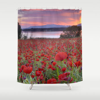 Red poppies. Sunset at the lake. Shower Curtain by Guido Montañés