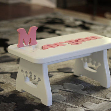 Wooden Name Puzzle Stool - Custom carved legs to fit your theme - Children's step stool