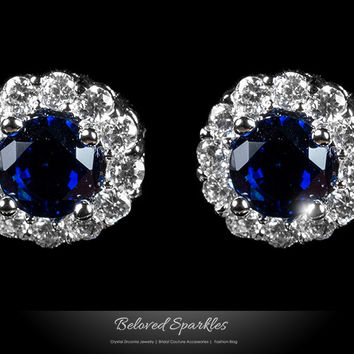 Jill Sapphire Blue Halo Stud Earrings | 5 Carat | Cubic Zirconia